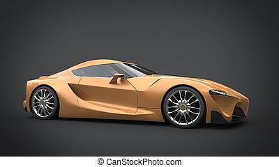 hermoso, dorado, súper, coche deportivo