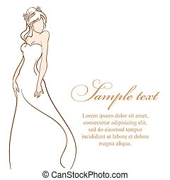 hermoso, dress., ilustración, novia, vector, boda, blanco