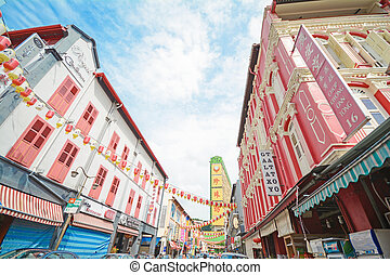 hermoso, edificio, chinatown, singapur