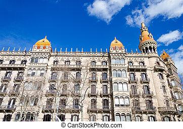 hermoso, edificio, en, barcelona