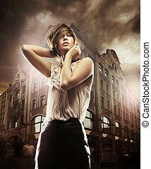 hermoso, edificio, mujer, arte, foto, frente, multa