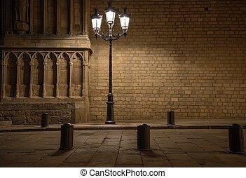 hermoso, edificio, viejo, barcelona, frente, farola