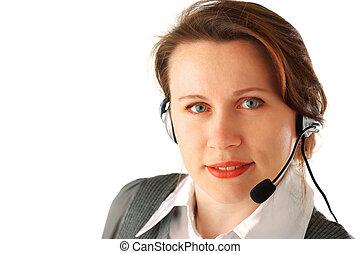 hermoso, ejecutivo, centro de la llamada