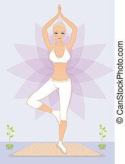 hermoso, ejercicios, mujer, youga