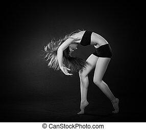 hermoso, el bailar del ballet clásico, baile, contemporáneo, bailarín, estilo