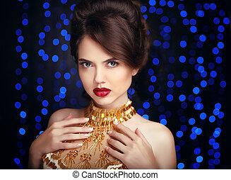 hermoso, elegante, mujer, en, moda, dorado, vestido