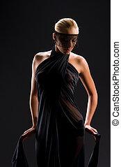 hermoso, elegante, rubio, Vestido