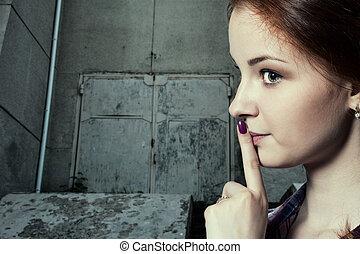 hermoso, ella, -, hacer callar, labios, psst, gesto, ...