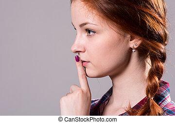 hermoso, ella, lips., -, hacer callar, psst, gesto, ...