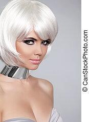 hermoso, ella/los/las de niña, moda, hairstyle., belleza, haircut., blanco, gris, fringe., aislado, fondo., cortocircuito, make-up., hair., retrato, close-up., woman., cara, style., moda
