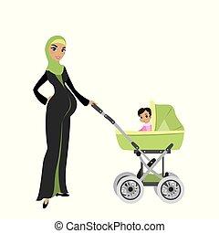 hermoso, embarazada, musulmán, mujer, con, un, bebé, en, cochecito de niño