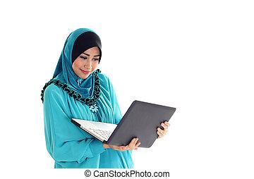 hermoso, emoción, computador portatil, musulmán, joven,...