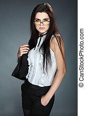hermoso, empresa / negocio, gris, plano de fondo, niña, ropa