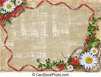 hermoso, enajenado, ramo, marco, papel, plano de fondo,...