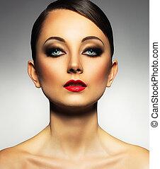 hermoso, encantador, mujer, Maquillaje, joven,  Retro