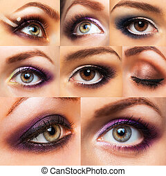 hermoso, encantador, ojo, womanish, maquillaje, colección