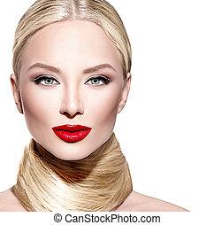 hermoso, encanto, mujer, derecho, pelo largo, rubio
