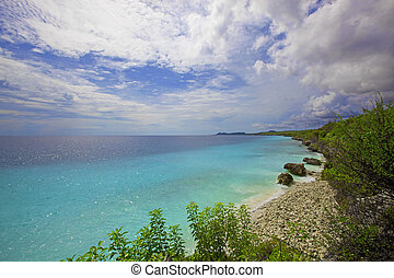 hermoso, encima, bonaire, litoral, vista