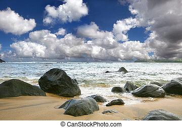 hermoso, encima, ondas, cielo, océano