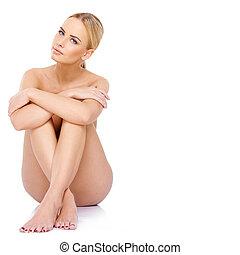 hermoso, esbelto, mujer, posar, topless