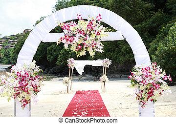 hermoso, escena de la playa, conjunto, para, un, ceremonia boda
