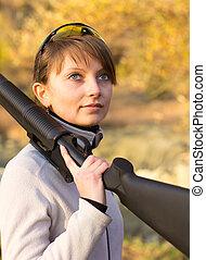 hermoso, escopeta, niña, joven