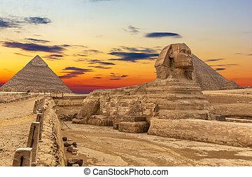 hermoso, esfinge, giza, egipto, pirámides, vista, ocaso