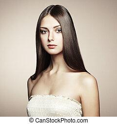 hermoso, estilo, foto, joven, vendimia, woman.