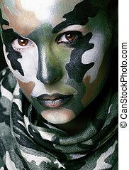 hermoso, estilo, moda, mujer joven, militar, ropa