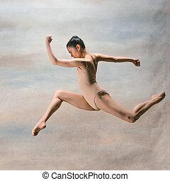 hermoso, estilo, moderno, joven, saltar, bailarín, estudio, plano de fondo
