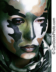 hermoso, estilo, mujer, coloreado, joven, pintura de la...