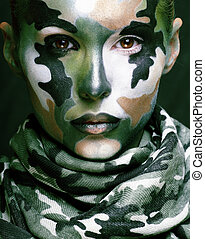 hermoso, estilo, mujer, f, joven, moda, militar, ropa