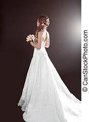 hermoso, estilo, mujer, -, novia, vestido de la boda