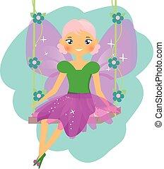hermoso, estilo, sentado, alado, duende, princess., hada, caricatura, swing.