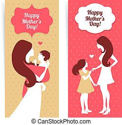 hermoso, estilo, silueta, madre, vendimia, day., madre, bebé, banderas, feliz
