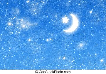 hermoso, estrellado, imagen, cielo, luna