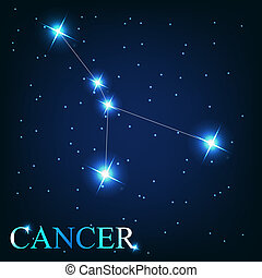 hermoso, estrellas, cáncer, cielo, cósmico, señal, brillante...