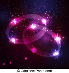 hermoso, estrellas, cósmico, anillos, dos, brillante, plano...