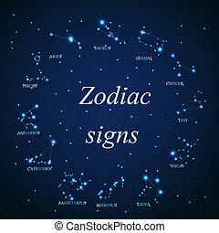 hermoso, estrellas, cielo, cósmico, señal, brillante, vector...