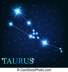 hermoso, estrellas, cielo, cósmico, tauro, señal, brillante, vector, plano de fondo, zodíaco