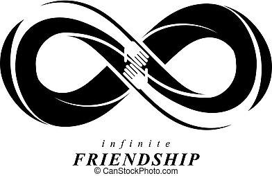 hermoso, eternidad, amistad, siempre, dos, símbolos, vector...