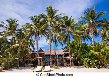 hermoso, exótico, soleado, tropical, recurso, playa blanca