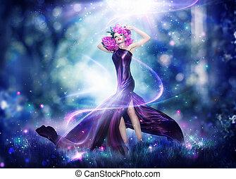 hermoso, fantasía, hada, mujer, moda, retrato arte