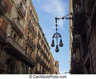 hermoso, farola, calle, barcelona