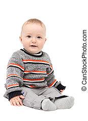 hermoso, feliz, bebé, chico que sienta, blanco, plano de fondo