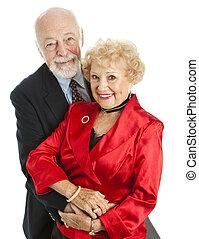 hermoso, feliz, pareja mayor