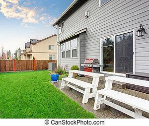 hermoso, fence., yarda, amueblado, espalda, patio