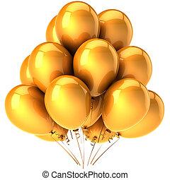 hermoso, fiesta, globos, dorado