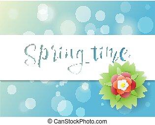 hermoso, flor azul, cartel, chispas, sol, saludo, primavera, vector, ilustración, plano de fondo, diseño, tarjeta
