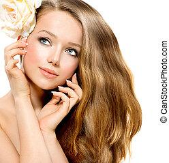 hermoso, flor, belleza, rosa, girl., modelo